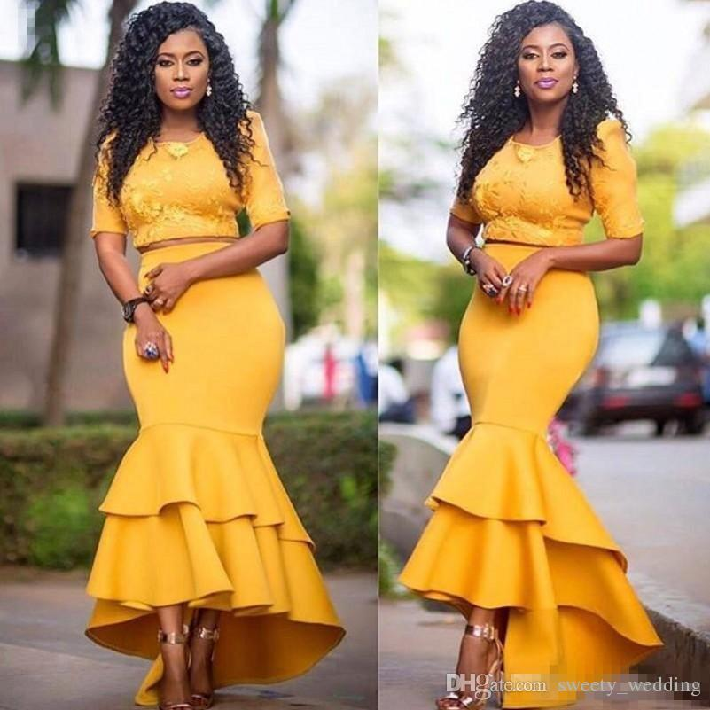 Two Pieces African Dresses Evening Wear Half Sleeves Jewel High Low Skirt Satin Mermaid Prom Dress Cheap Zipper Back Homecoming Party Dress