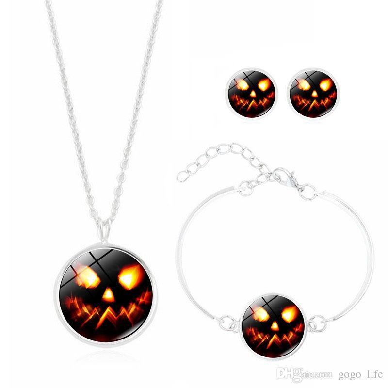 Set gioielli in argento anti-allergico moda donna set orecchini teschio di zucchero rosa + collana + bracciale accessori di Halloween