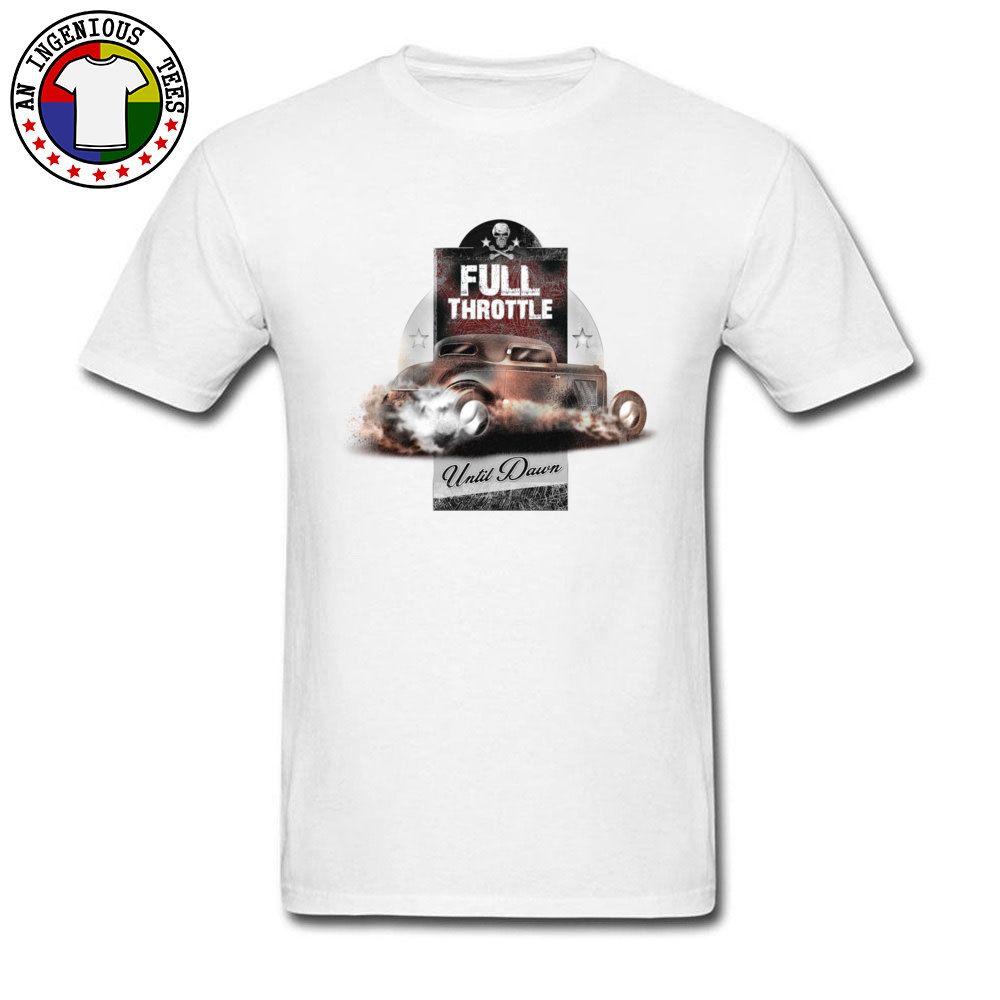 Car Styling Mens Nueva camiseta Full Throttle Until Dawn PP Cráneo de metal JDM camiseta Cool Fashion Vintage Tops de algodón 2018