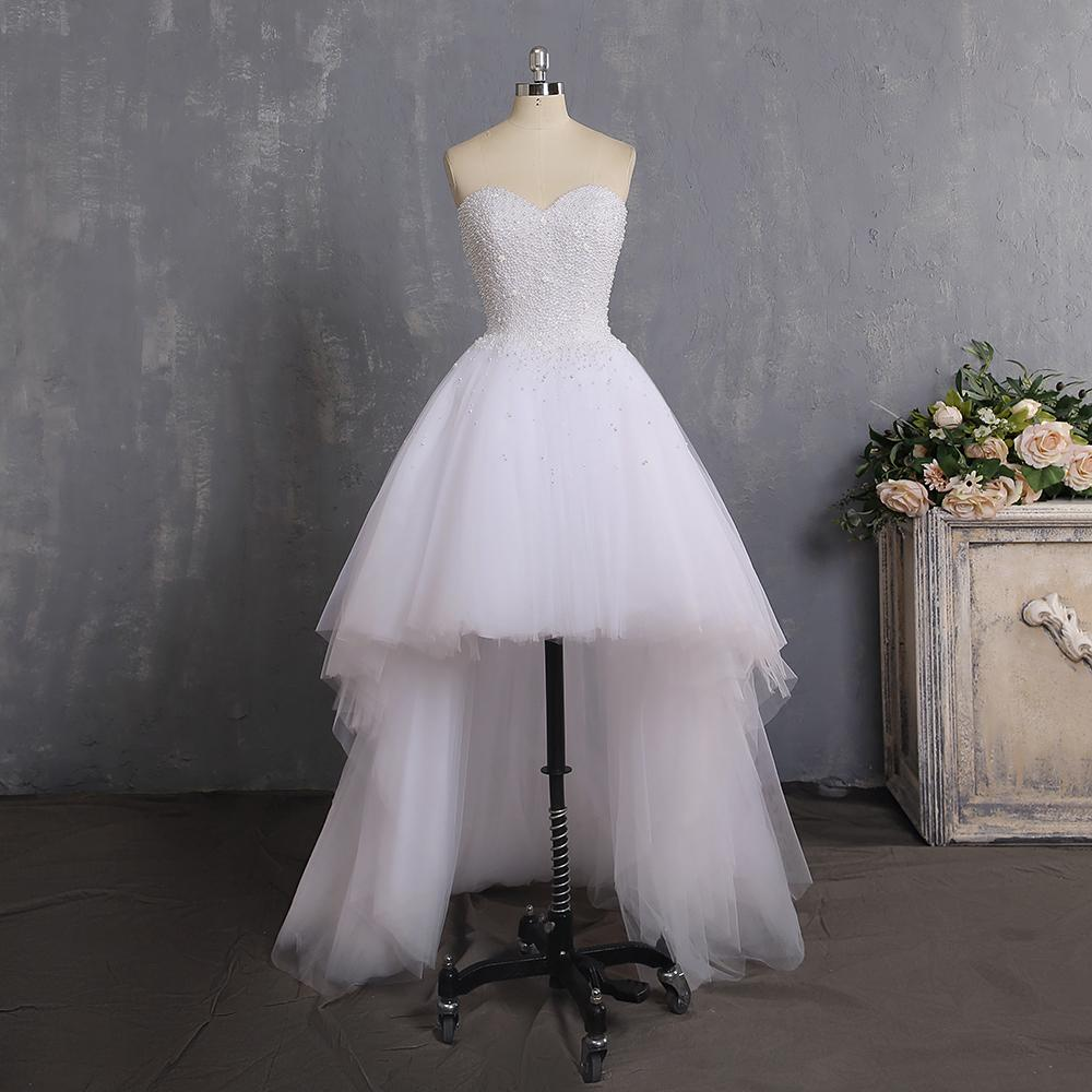 Charming White Real Photos A-Line Sweetheart Pearls Clusters Lush Tulle Wedding Dress Sexy Back Asymmetrical Bridal Gowns