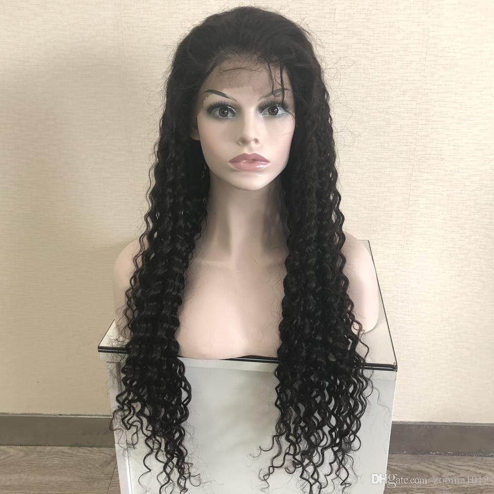 "Full lace wigs Brazilian Deep wave wigs Hair 130% #1B Black Virgin Human Hair Front lace wig for Black Women 10""-30"""