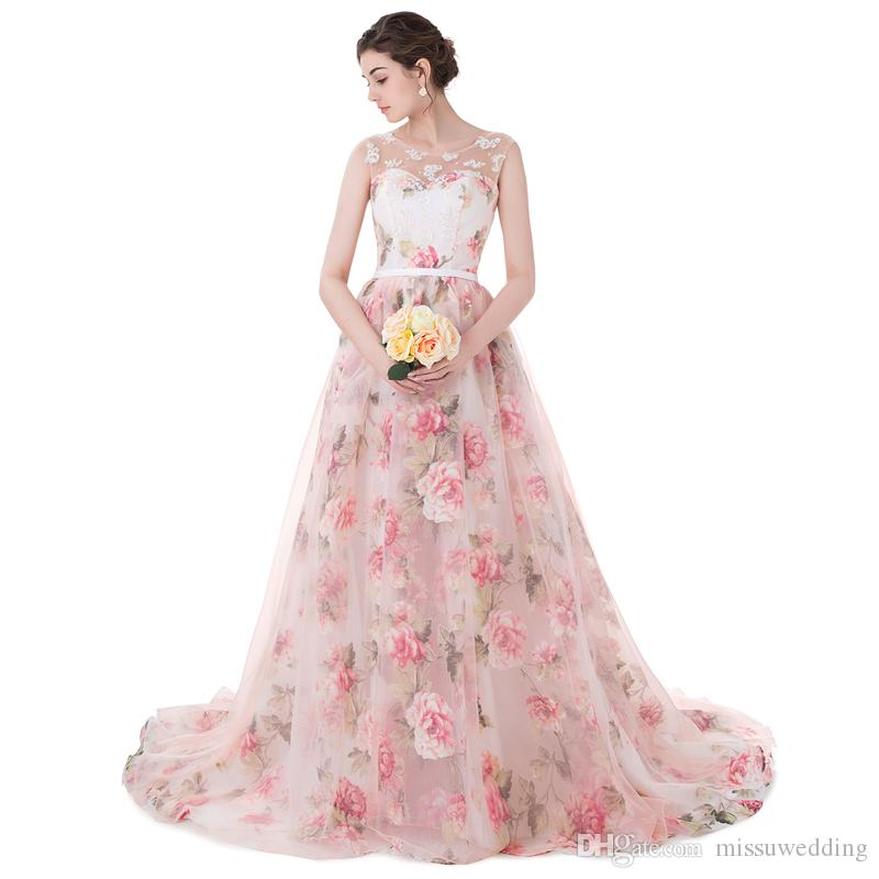 Real Photos Pattern Organza Peach Color Ball Gown Prom Dresses Long ...