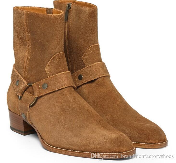 Suede classique bottes de cheville de mode hommes bottes zippées latérales bottes de moto rue mode hommes chaussures automne hiver bottes homme