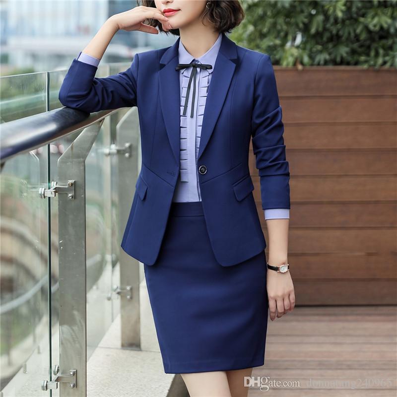 New Fashion black blue skirt suits business office women slim long sleeve blazer with skirt plus size formal work wear 6008