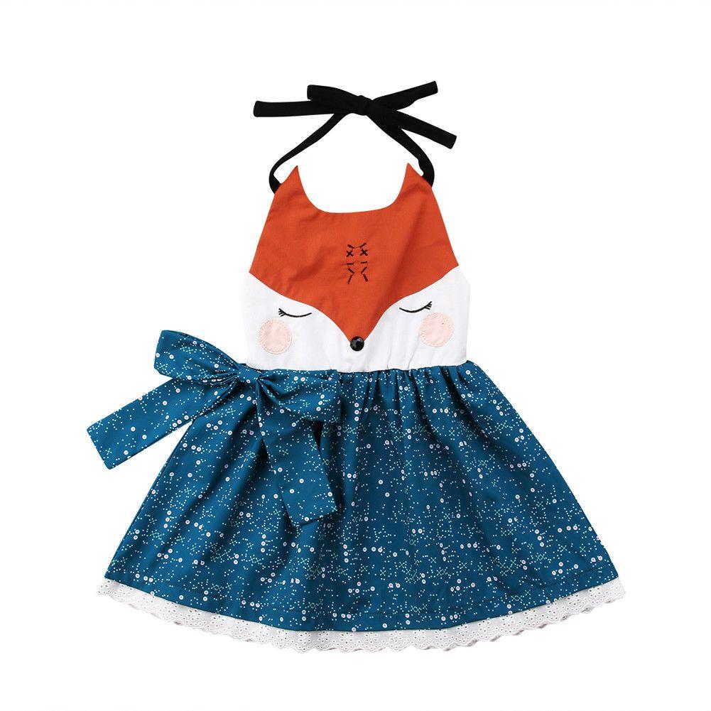 Çocuk turuncu mavi çocuk kız karikatür tilki yüz elbiseler parantez etek backless prenses parti ilmek tutu dantel elbise kız elbise 1-6Y