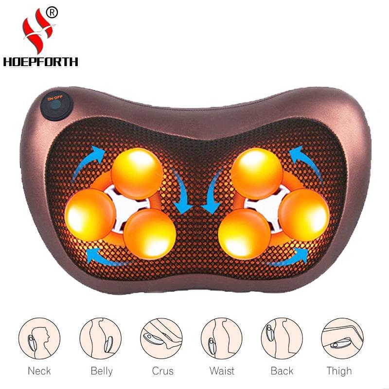 Infrared Heating Electric Kneading Shiatsu Vibrator Neck Shoulder Back Body Massager Pillow Car/Chair/Home Massagem