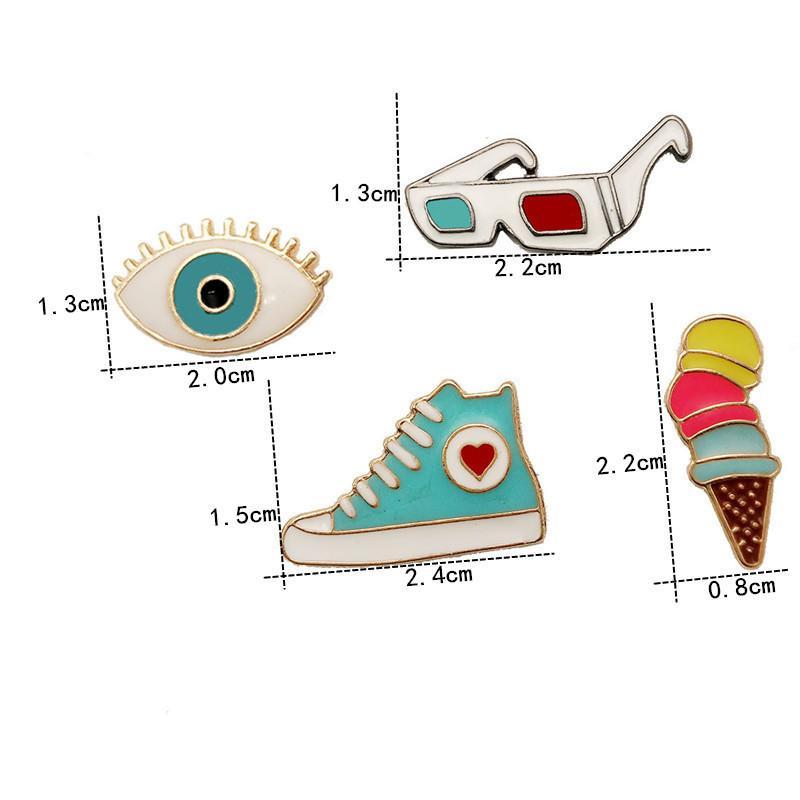 Atacado Moda Presente Pin Colorido Dos Desenhos Animados Cone de Gelado sapatos Pins Broches Pinos Jóias Broches para Mulheres Dos Homens Frete Grátis