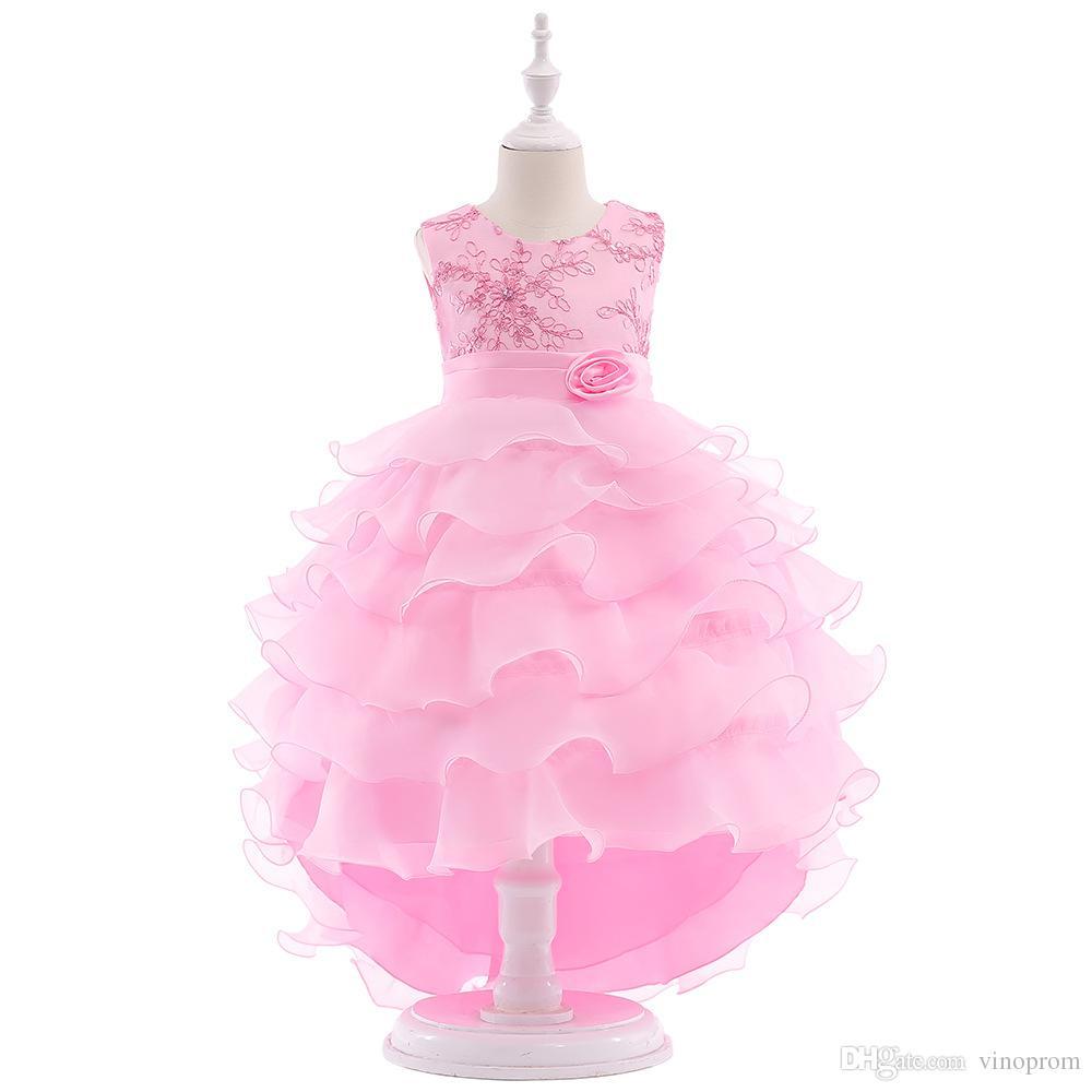 Nuovo arrivo 2019 belle ragazze fiore rosa abiti perline pizzo appliques di nozze Prom compleanno Comunione Toddler Kids TuTu Dress