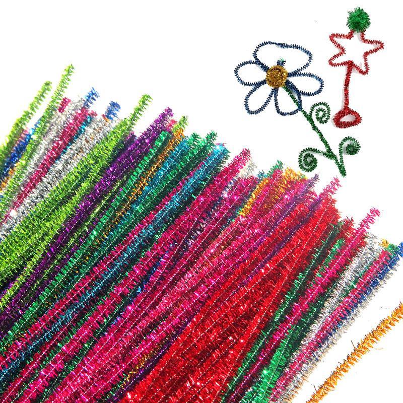 100pcs/Dozen Long 30cm Glitter Chenille Stems Pipe Cleaners Kids Toys DIY Handicraft Materials for Creative Kids Educational Toys