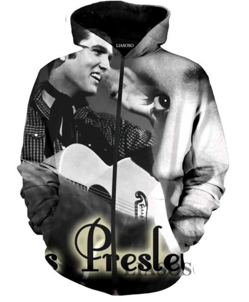 Felpa con cappuccio con zip e felpa con cappuccio Elvis Presley di nuova moda 3D stampato FB15