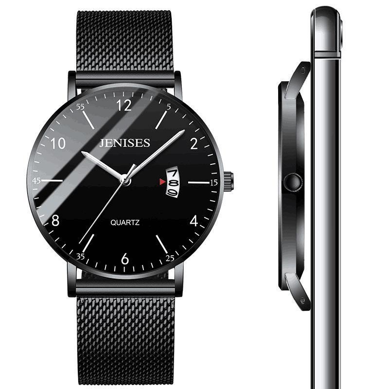 Homens Moda ultra-fino relógio à prova d 'água Relógios de Quartzo Luminoso Couro Genuíno Negócio Assista novo estilo atacado