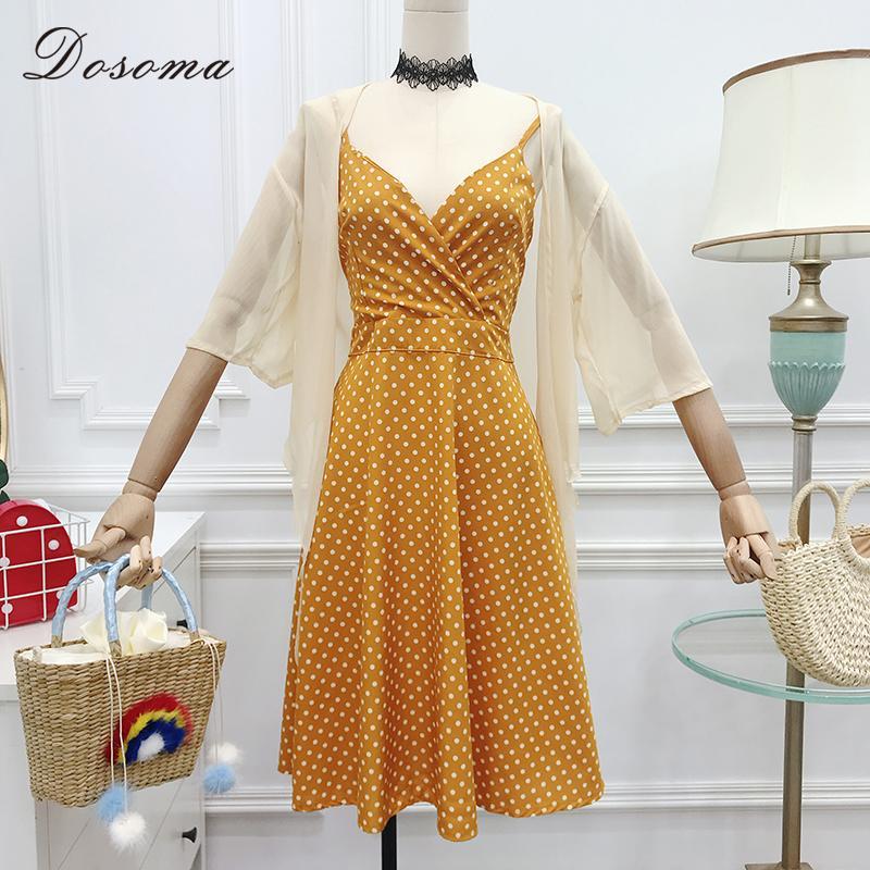 Großhandel Sexy Kleid Sets Frauen Sommer Chiffon Bluse Shirt und Dot Susoender Ärmelloses Kleid Frauen Elegant Zwei Stücke Set