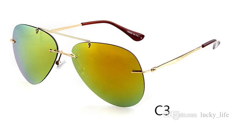 Moda sürüş moda güneş gözlüğü kadın erkek güneş gözlükleri ayna shades UV400 koruma gafas de sol Pilot Çerçevesiz Güneş Gözlüğü 4 renkler