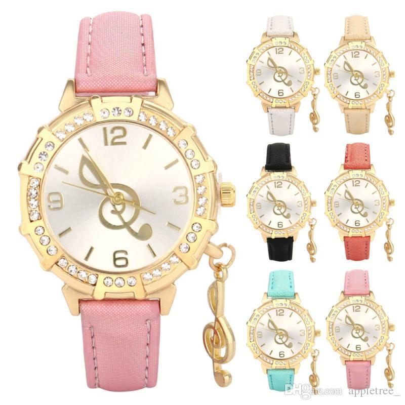 Montre de luxe à la mode Femmes Mignonnes Princesse note Cristal Diamant Montres Montre-bracelet Filles femmes dames Enfants en cuir Quarts Montres