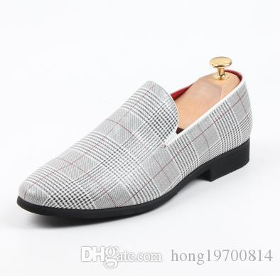 Mocasines de hombre de moda Slip on British plaid Zapatillas de terciopelo Zapatos de vestir británicos Planos de hombre Zapatos de boda y fiesta