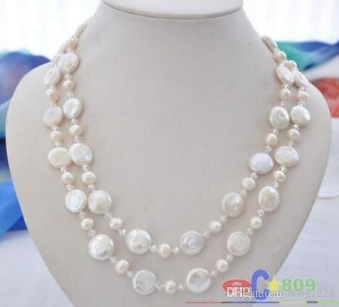 """42"""" white round / coin freshwater pearl clean faceted crystal necklace"""