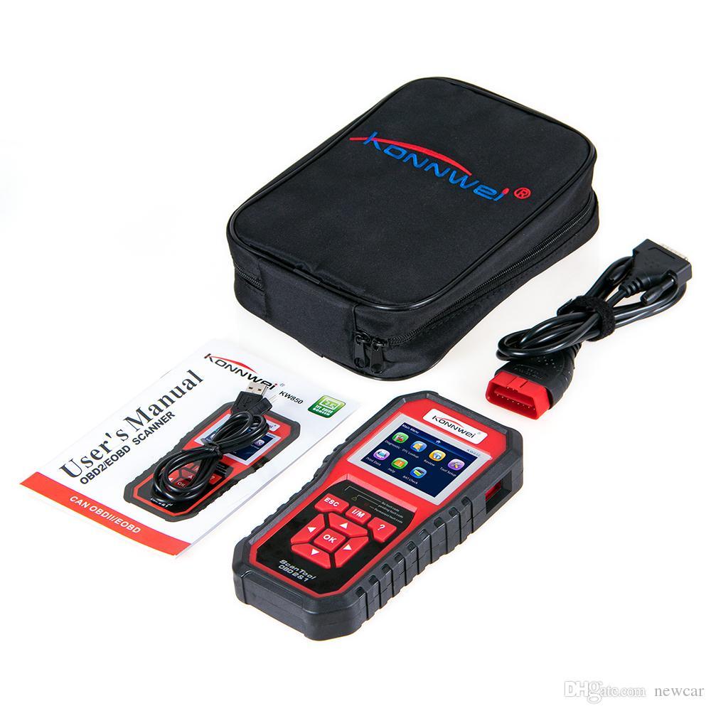 KONNWEI KW850 Tam OBD2 Araç Teşhis Aracı KW 850 OBDII Otomatik Tarayıcı PK AD310 NT301 Güncelleme PC On Ücretsiz Yüksek kalite makine