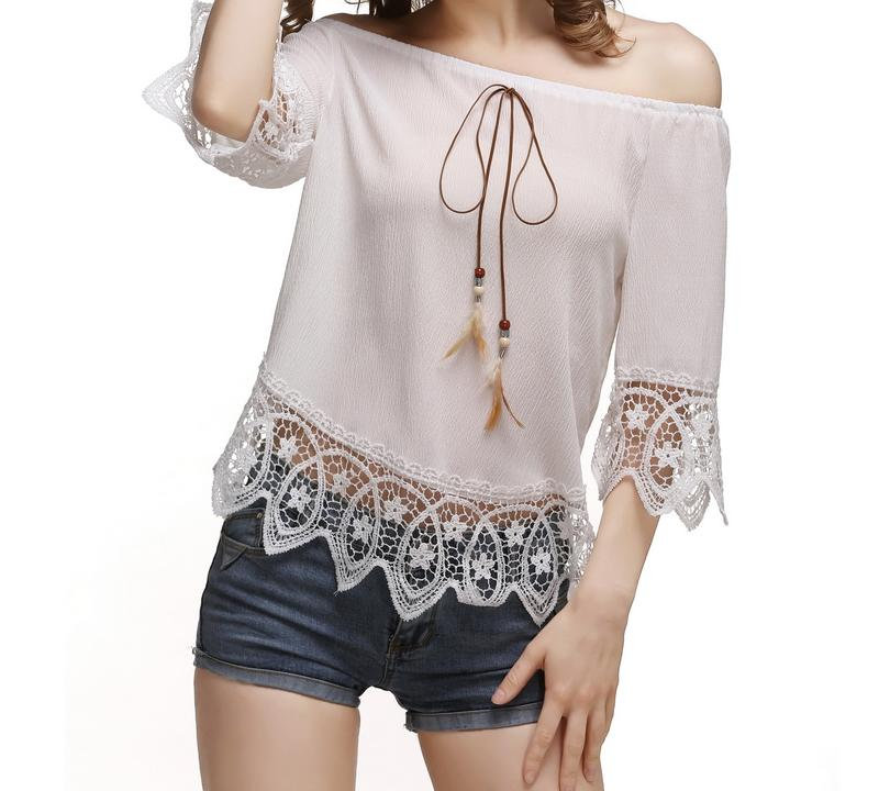 Sexy Off Shoulder Shirts Women Chiffon Blouses Lace Casual Elastic Slash Neck Strapless Crochet Hollow Out Tops Shirts Plus Size Blusas