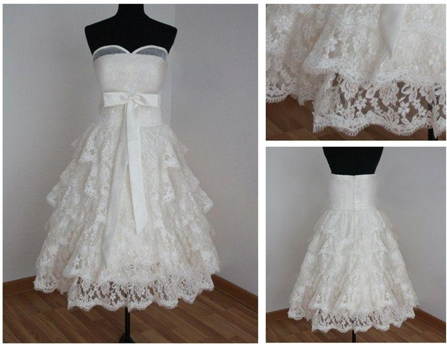 Moda Lace curto comprimento do vestido de casamento praia vestido de noiva sem mangas de noiva vestido de casamento personalizado Plus Size ocasião formal