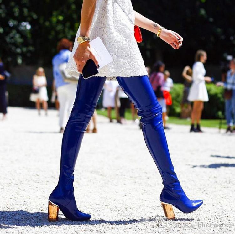 Bottes hautes en cuir verni stretch pour femmes chic marque chaussures à talons hauts de bal de fin d'année rouge noir bleu longues bottes de pluie de grande taille