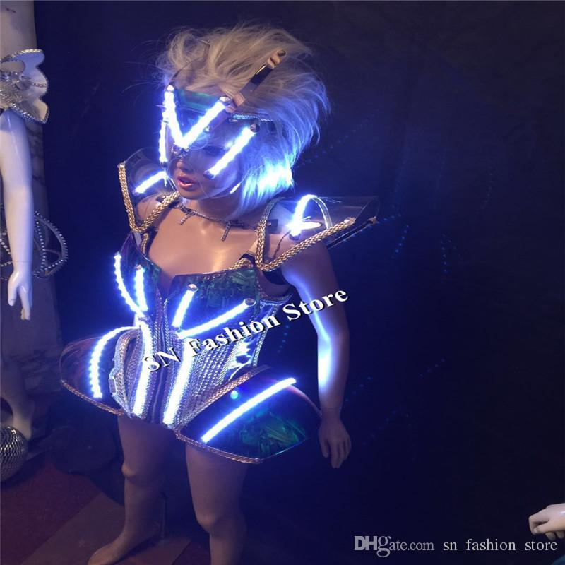 BS99 Ballroom robot led costumes women lighted dress dance led costumes bar singer mask stage cosplay wears sexy dj cloth bra catwalk show