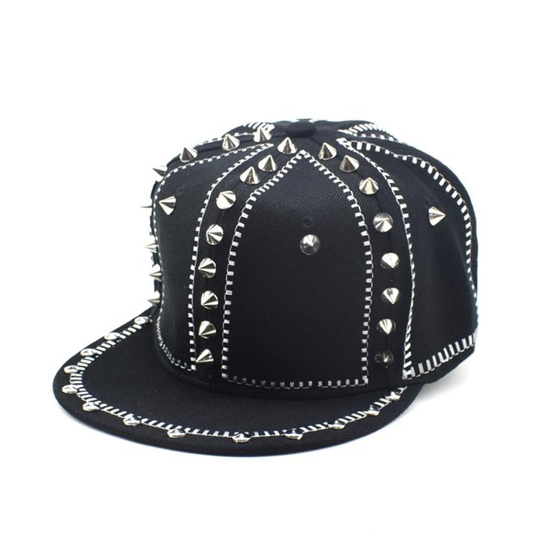 Moda Harajuku Punk Kişiselleştirilmiş Kirpi Şapka Caz Snapback Spike Çivili Perçin Spiky Hip Hop Kaya Dans Için Beyzbol Şapkası