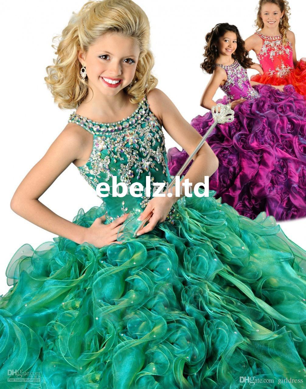 2017 New Hot Red Purple Green Girl's Pageant Dresses Crew Beaded Rhinestone Ruffles Ball Gown Floor Length Organza Flower Girl Gowns