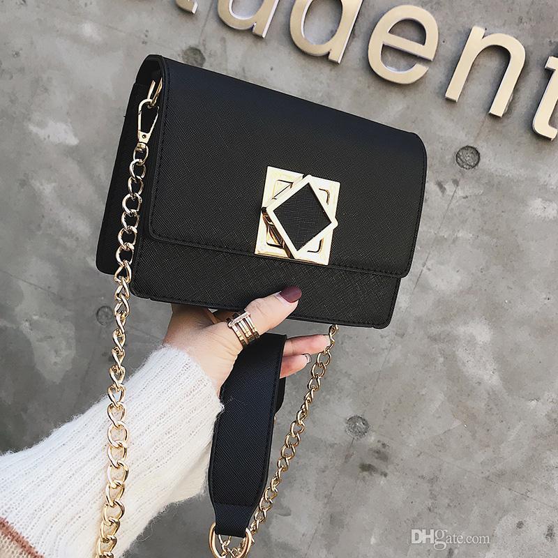 Designer Leather Shoulder Messenger Bolsas lisas Alta calidad Cross body purse Mujeres de lujo Mujer Hanyou // 8