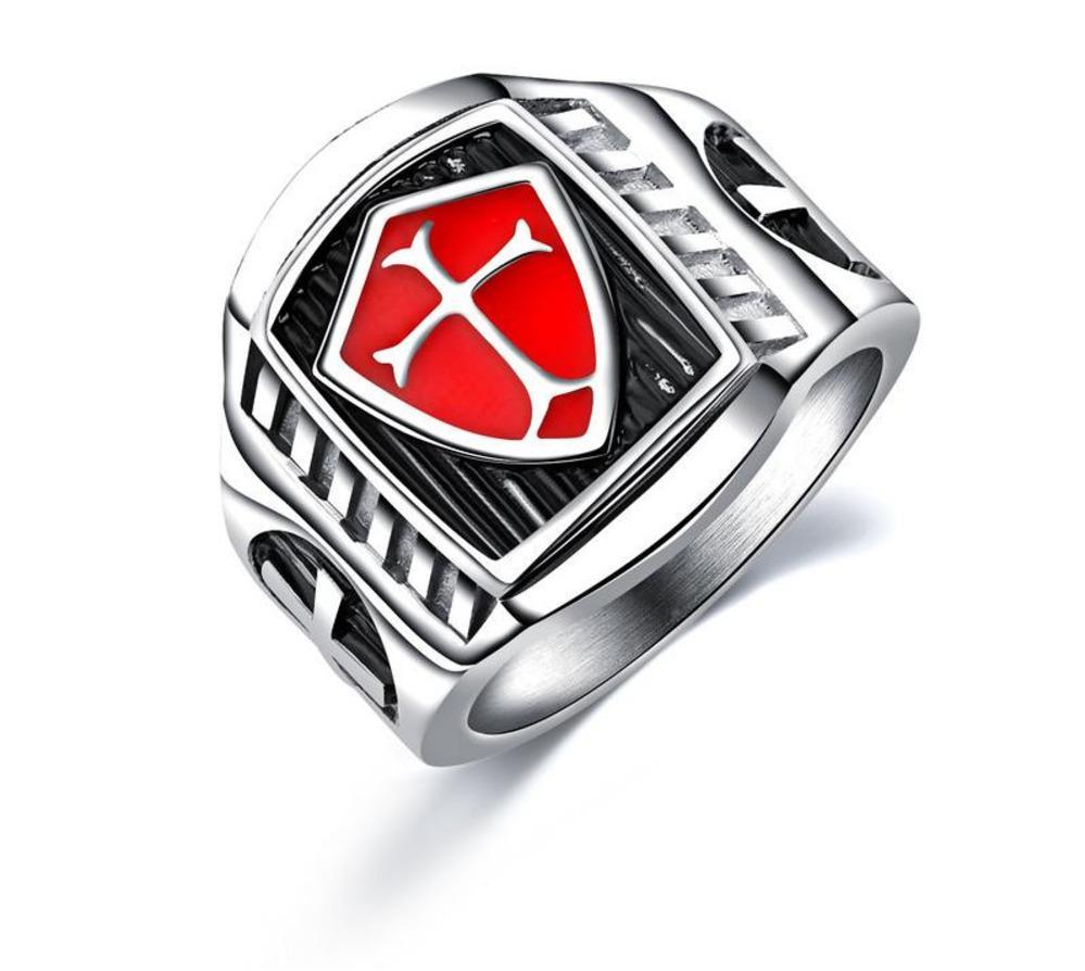 Tamaño 7-12 anillo cruzado de acero inoxidable - rojo escudo caballero Templario cruzado anillos para hombre - Retro anillos de la vendimia para hombres regalo