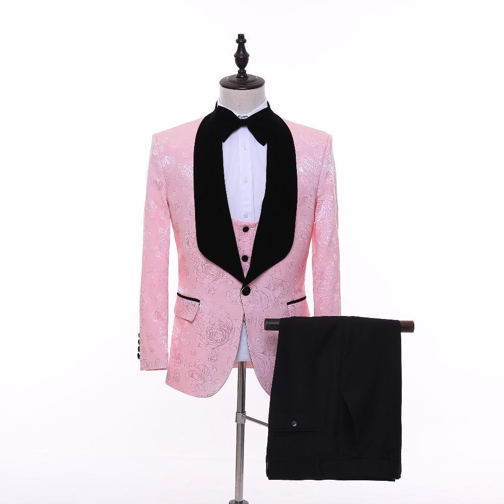 Acheter Nouvelle Marque Rose Hommes Costume De Mariage Modèles De Smoking  Spectacle De Chant Chanteur Costumes Porter Slim Fit Homme Costume De Fête