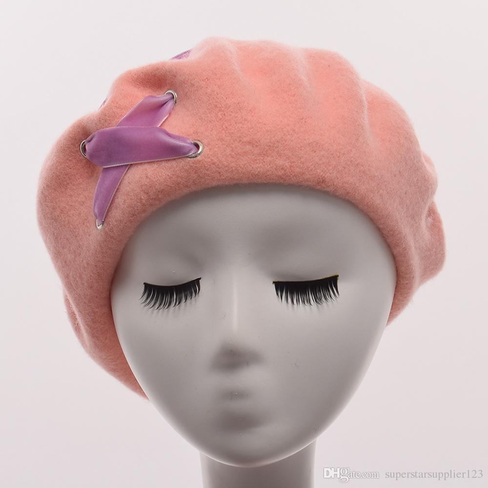 1pc Women Winter Cute Lolita Beret Headwear Handmade Vintage Wool Velvet Lace-up Painting Hat Cap Black/Blue/Burgundy/Pink