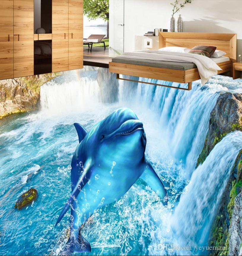Stereoskopische tapete 3d bodenbelag benutzerdefinierte 3d boden Wasserfall delphin wandbild tapete papel de parede 3d europeu vinyl-böden