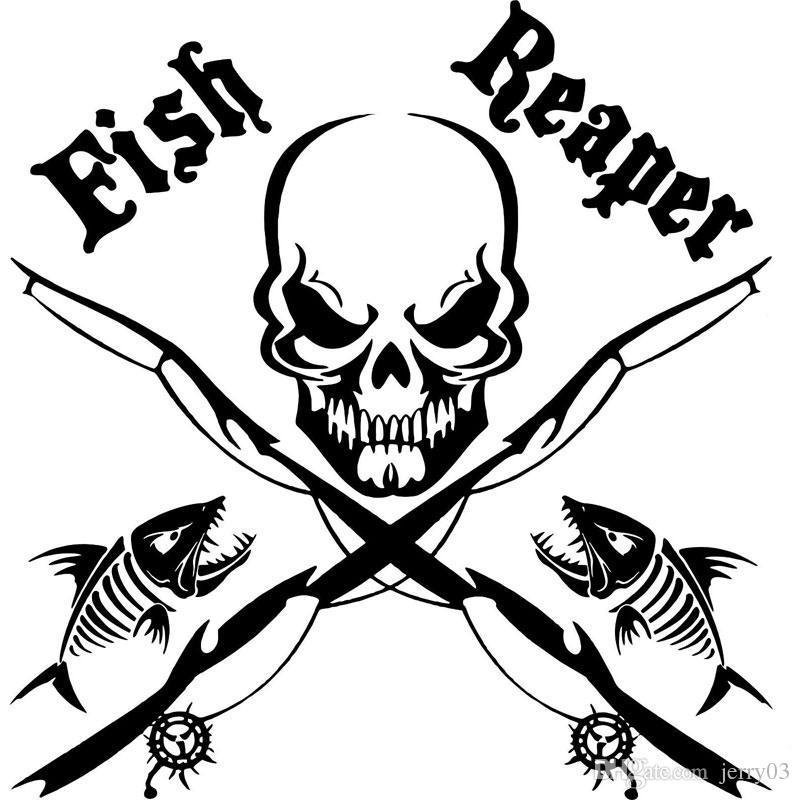 17 cm*17 Cm Fisch Reaper Schädel Angelrute Auto Boot LKW Fenster Vinyl Aufkleber Grafik Aufkleber Stylings Schwarz Splitter C8-0731