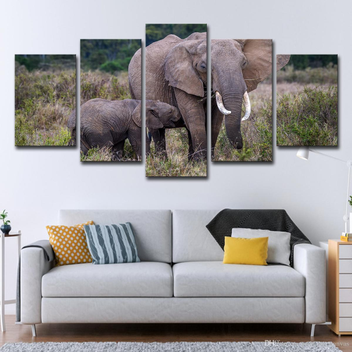 2019 Painting Wall Art Home Decor Living Room 5 Panel Africa Elephant Wall Art Poster Tree Landscape Prints Pictures From Print Art Canvas 16 41