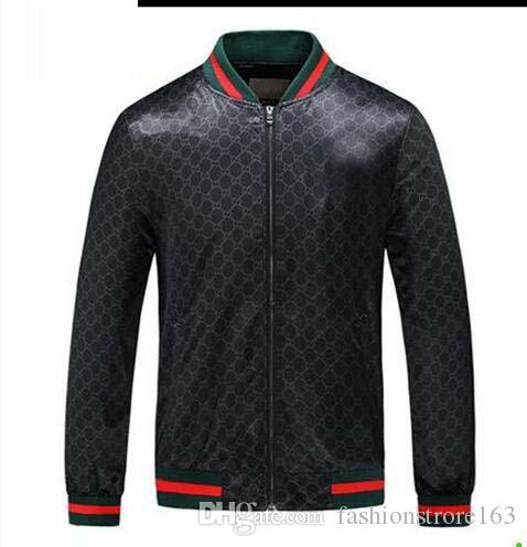 Weihnachtsgeschenk 2018 Verkaufen Herren Muster Classic Jacke Outwear Rot Grün Rib Sleeve Zipper Up Schwarz Blau M-XXL Herren Freizeitjacke Outlets
