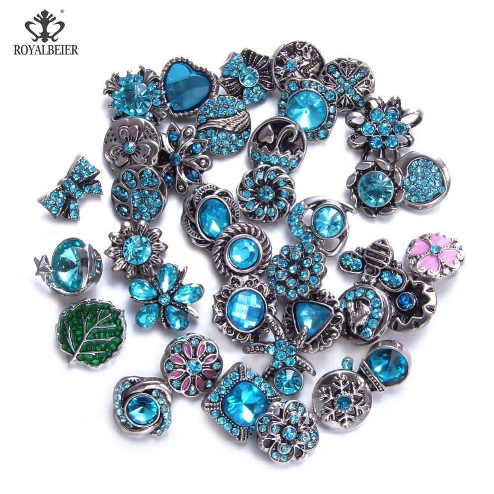 Royalbeier 36pcs/lot Mixed Colorful Rhinestone Metal Charms 12mm Snap Button Jewelry For DIY Snaps Bracelet Eearrings Jewelry