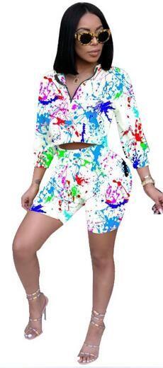2018 Outono de Duas Peças Set Treino Mulheres Top Curto e Shorts Set Casual Sportwear 2 Peça Roupas para Mulheres Suor Ternos DW685
