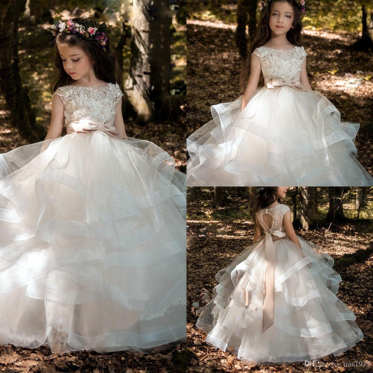 Linda flor menina vestidos até o chão vestido de baile crianças criança com flores artesanais branco bebê criança comunhão vestidos
