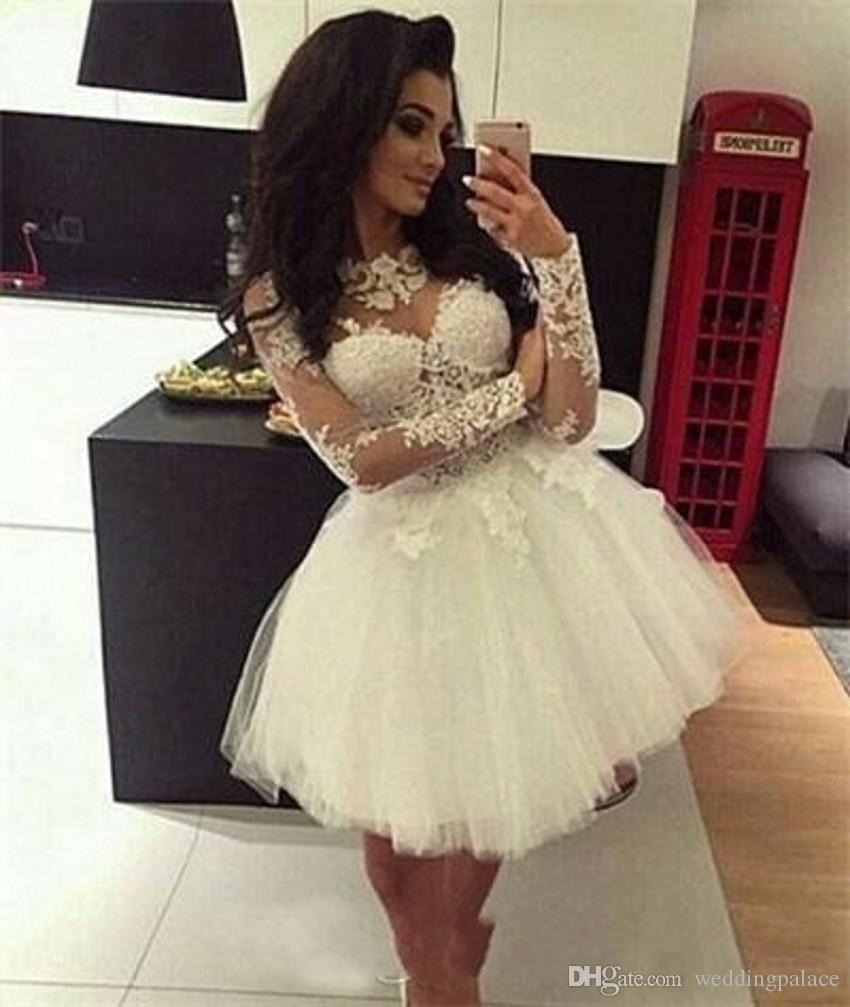 Compre Blanco Por Encargo Mini Vestidos De Fiesta Cortos Mangas Largas Sheer Neck Sweet 16 Vestidos Vestidos De Graduación Vestido De Fiesta De