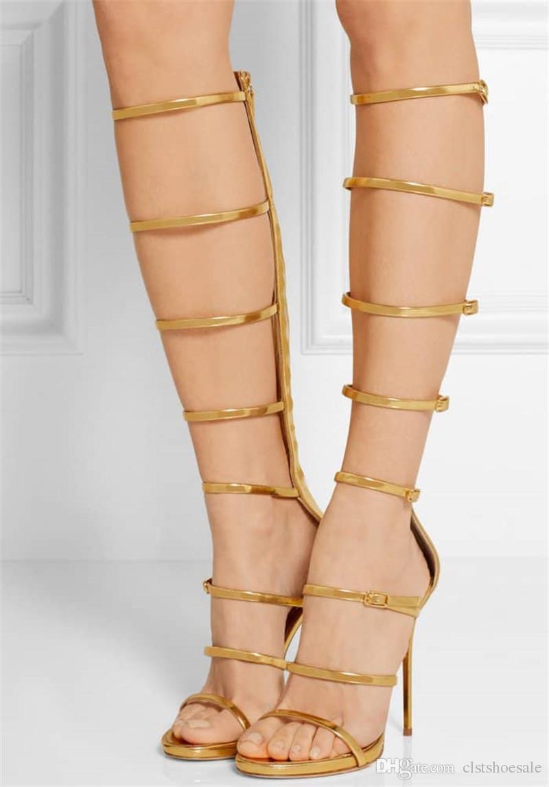 Sıcak Satış Kadın Moda Burnu açık Altın Gümüş Deri Sapanlar Stiletto Topuk Çizmeler Cut-out Ince Topuk Geri Fermuar-up Yüksek Topuk Sandal ...