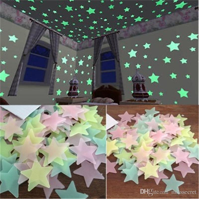 100 pcs/Set 3D Luminous stars Wall Stickers glow in the dark DIY Home Decor for Kids Room living room Wall Decal