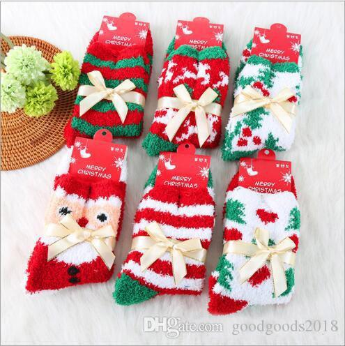 Fashion cute elk warm adult Christmas lady quilt towel coral velvet printing warm winter socks comfort Christmas gifts TO235