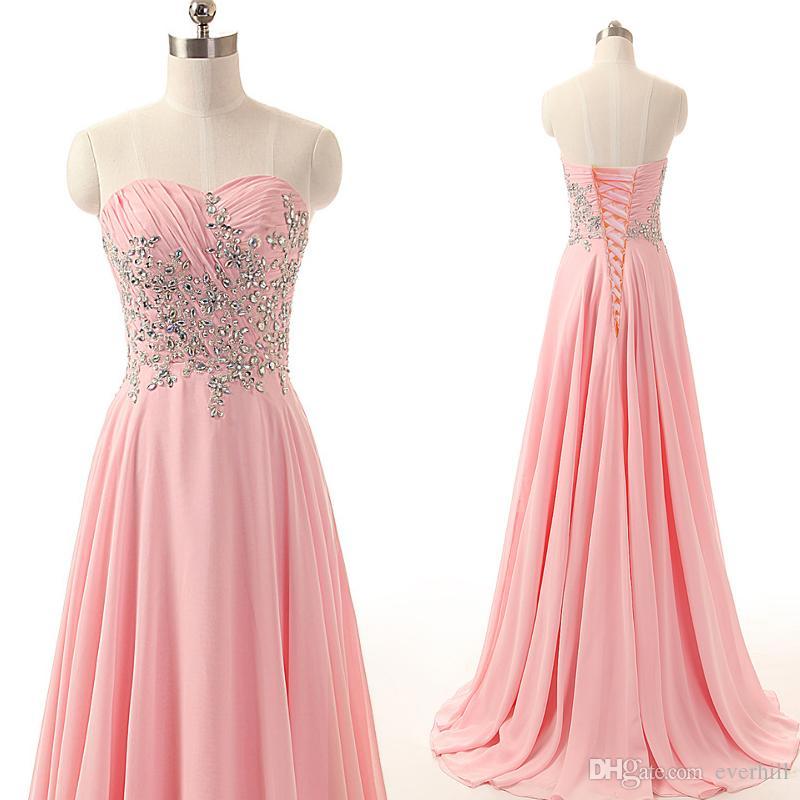 JaneVini Elegant Chiffon Long Prom Dresses Pink Shiny Crystal Pleat Bridesmaid Party Dress Sweep Train Sweetheart Sleeveless Evening Gowns