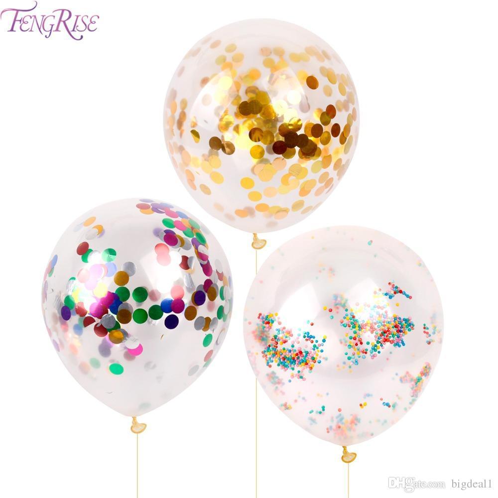 2018 10pcs 12 pulgadas globo de confeti romántica decoración de la boda de espuma de oro claro confeti globos fiesta de cumpleaños suministros