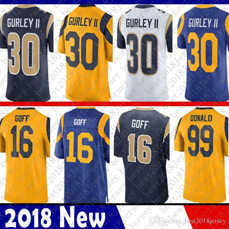 los hombres de St. Louis Jersey Ram Todd 30 Gurley 16 Jared Goff 5 Nick Foles 99 Aaron Donald hombre del fútbol de los jerseys 20 Jalen Ramsey