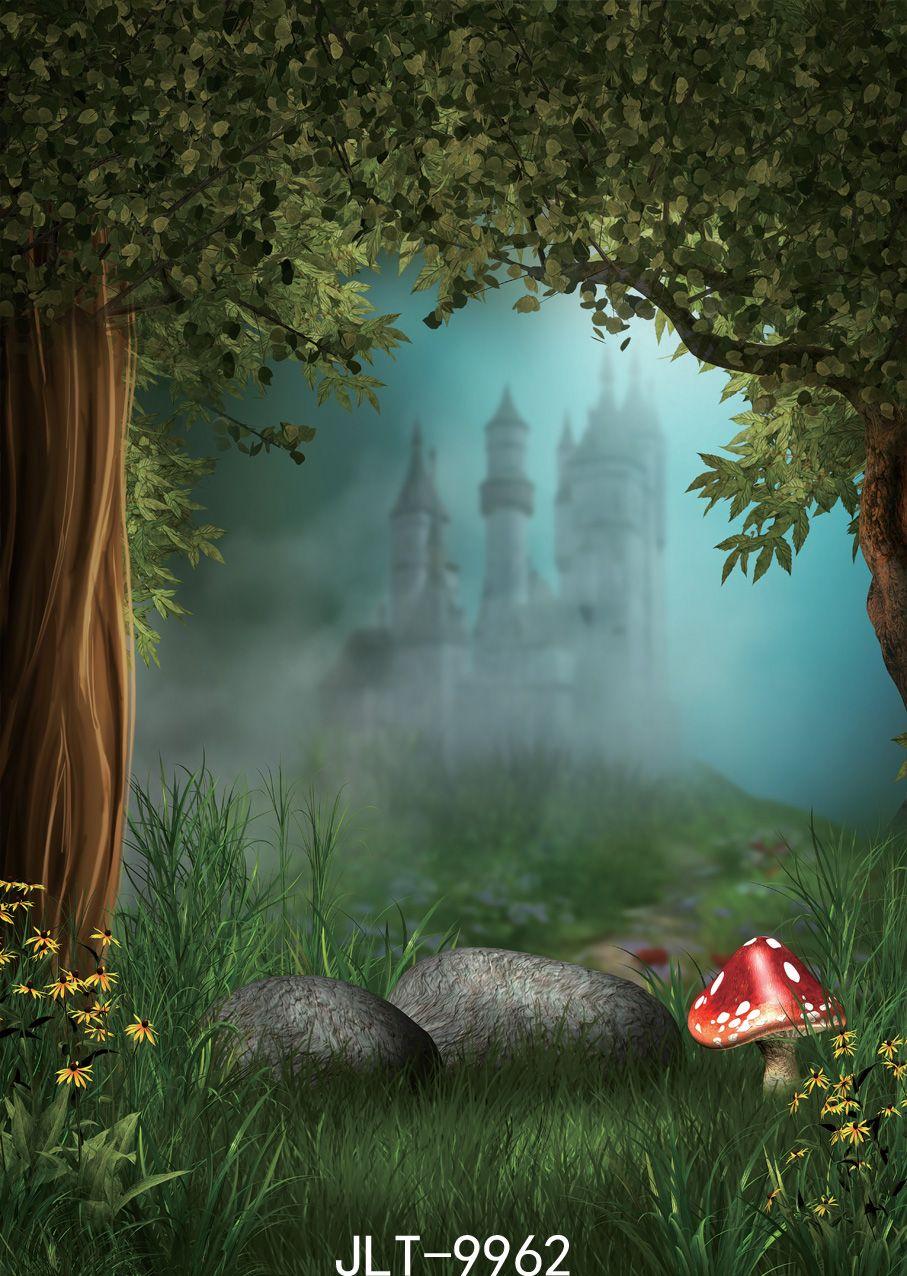 Bokeh zamek zdjęcie tła drzewa drzwi trawy kamień backdrops for foto studio dżungla party baby shower bajka bajka winylowa tkanina
