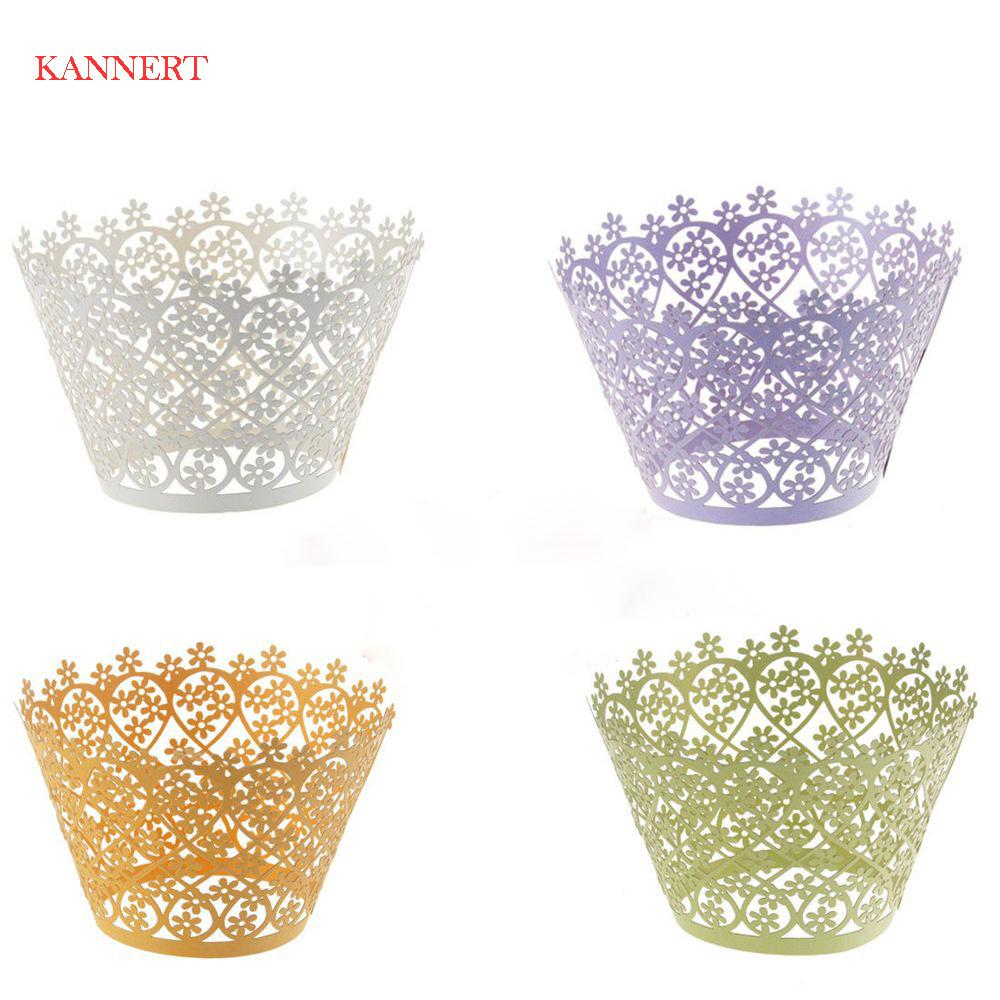 KANNERT Cup cake paper 10pcs Little Vine Lace Laser Cut Cupcake Wrapper Liner Baking Cup Muffin cake tool Snowflake Xmas Decor