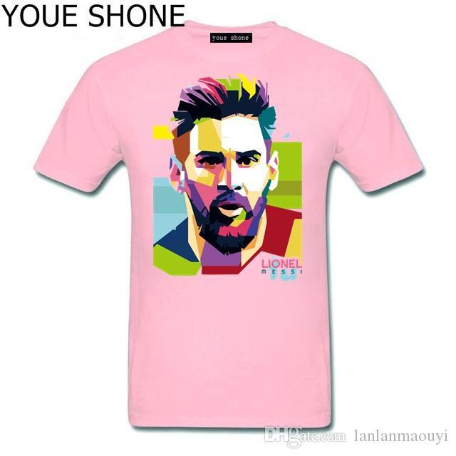 Messi dos homens T-shirt 100% Algodão Tshirt Tops Argentina Jersey Para Os fãs TShirt NOVA Lionel Messi manga curta Barcelona Masculina Tees Polos