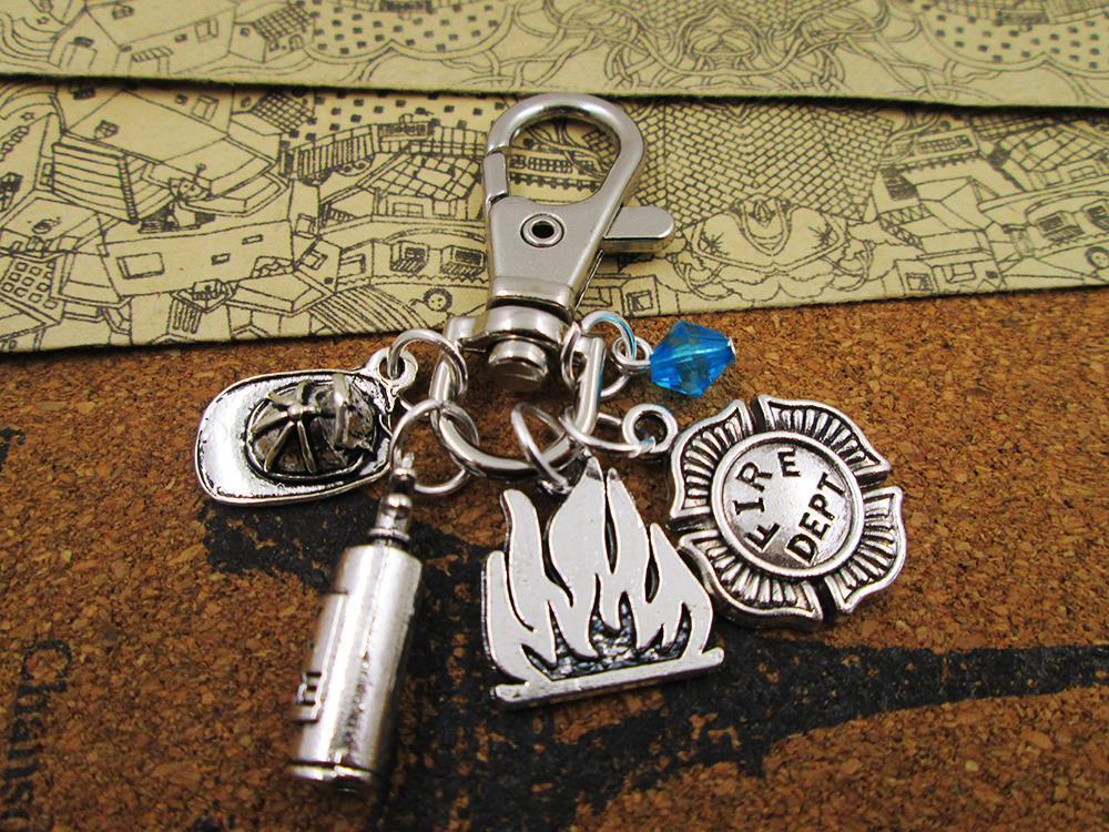 12pcs/lot fire DEPT. necklace, firefighter necklace, friends gift ,birthday present ,hero necklace/bracelets/keychain