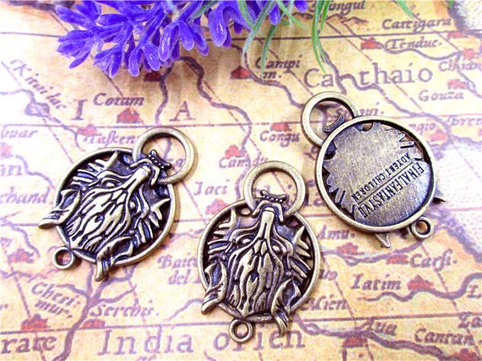 12pcs - fascino del lupo, bronzo antico lupi capi pendenti di fascino 40x27mm